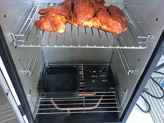 Electric Smoker inside with meat