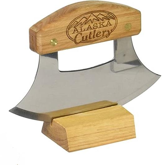 Alaska Ulu Knife Set-Curved Knife with Wood Handle