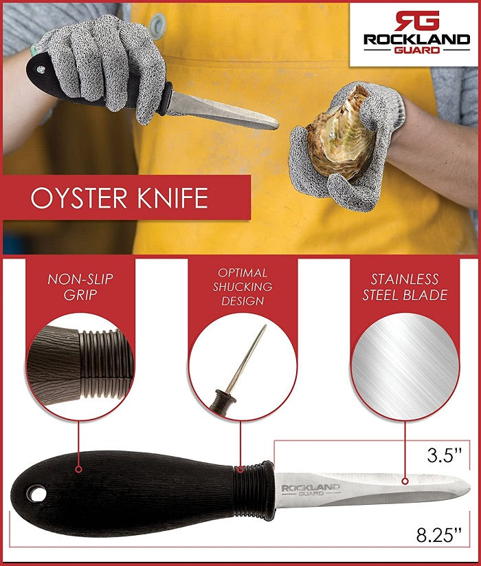 Rockland Guard Oyster Knife Shucker with Non-Slip Easy To Grip Handle
