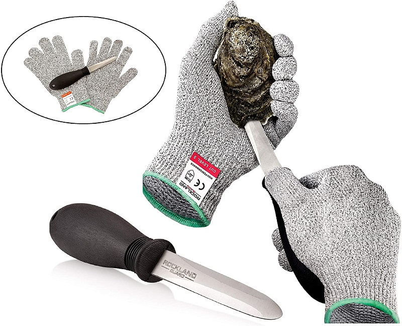 Rockland Guard Oyster Shucking Set- High Performance Level 5 Protection Food Grade Cut Resistant Gloves