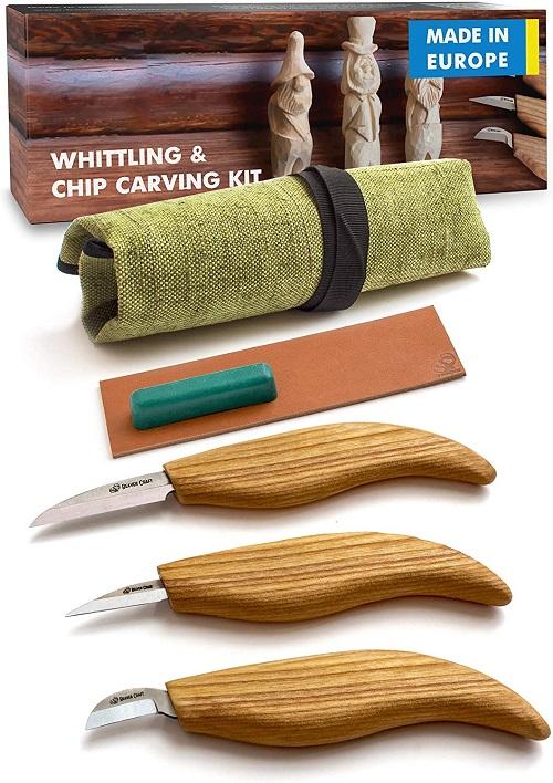 BeaverCraft S15 Whittling Wood Carving Kit - Wood Carving Tools Set - Chip Carving Knife Kit - Whittling Knife Set Whittling Tools Wood Carving Wood for Beginners (Chip Carving Knife Kit)