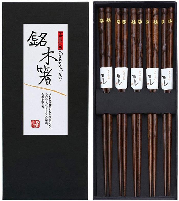 #1 HuaLan Japanese Wood Chopstick Set Chopsticks 5 Pairs