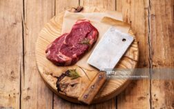 Raw fresh meat Ribeye Steak and meat cleaver on wooden background