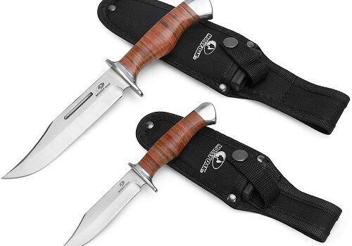MOSSY OAK 2-piece Bowie Knife, Fixed Blade Hunting Knife with Leather Handle, Sheath Included