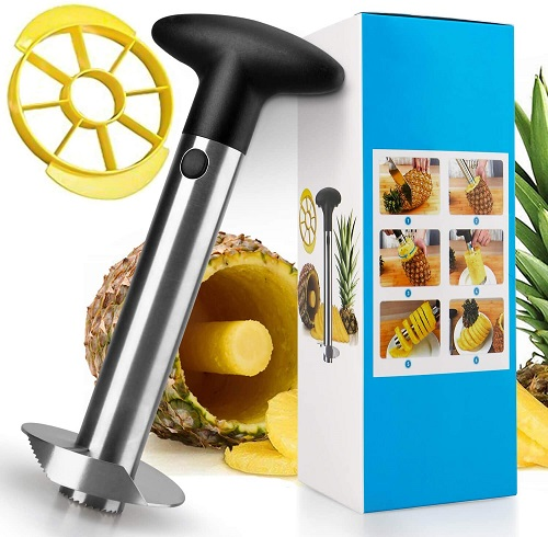 Pineapple Corer and Slicer, [Upgraded] Thicker 304 Stainless Steel Pineapple Cutter/Peeler with Wedger, Professional Pineapple Core Remover ToolPineapple Corer and Slicer, [Upgraded] Thicker 304 Stainless Steel Pineapple Cutter/Peeler with Wedger, Professional Pineapple Core Remover Tool