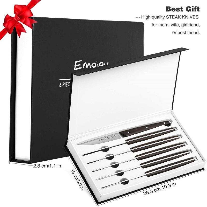 Steak Knife Set - Steak knives Set of 6, Non Serrated Steak Knives, Stainless Steel Steak Knife, Emojoy Knife Set with Gift Box